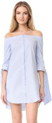 Shop Now - >  https://api.shopstyle.com/action/apiVisitRetailer?id=627021561&pid=uid6996-25233114-59 ENGLISH FACTORY Stripe Off Shoulder Dress  ...