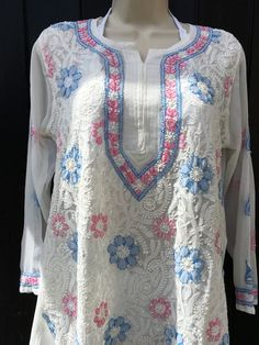 cf47a17508fbe White Floral Indian Tunic Bust 37 in | Embroidered with paisleys, pink &  blue flowers | Sheer Chiffon chikan beach cover up | Sexy kaftan