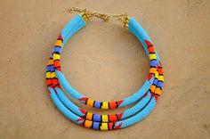 Triple rope necklaceStatement necklaceBlue by akwaabaAfrica