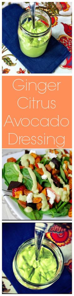 This Ginger Citrus Avocado Dressing is full of flavor and healthy fats! The perfect addition to your lunch salad!