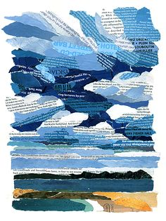 Sky over the bay collage with torn magazine pages.  Love the stormy looking blue clouds!