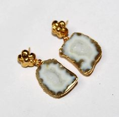 24kt Gold Electroplated White Druzy Geode Earrings /Gold