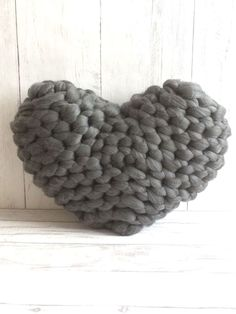 Knitting Patterns Pillow Excited to share the latest addition to my shop: Chunky Knit Cushion, Knit Pillow, Heart Cushi. Giant Knitting, Knitting Yarn, Knitting Patterns, Knitting Ideas, Heart Cushion, Heart Pillow, Knitted Christmas Stockings, Christmas Knitting, Valentines Ideas For Her
