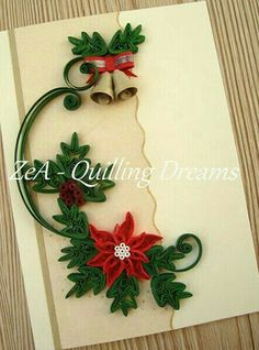 Quilling Flowers Tutorial, Paper Quilling Patterns, Origami And Quilling, Quilling Paper Craft, Quilling Designs, Paper Crafts, Diy Quilling Christmas, Diy Christmas Cards, Christmas Crafts