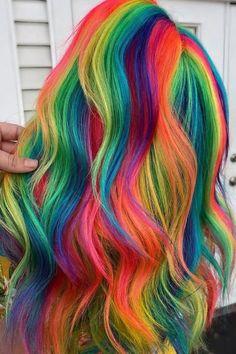 Peekaboo Hair Colors, Vivid Hair Color, Cute Hair Colors, Beautiful Hair Color, Hair Color Purple, Hair Dye Colors, Kids Hair Color, Unicorn Hair Color, Creative Hair Color