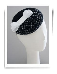 Black felt cocktail hat with white bow by Oritihats on Etsy