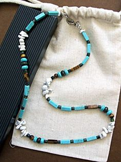 Turquoise Healing Sky Water Necklace for Men | EARTHOCEANFIRE - Jewelry on ArtFire
