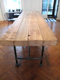 Dining Bench Industrial Furniture Pieces To Purchase And Use . Ideas Of Banquette Seating Wearefound Home Design. Home Design Ideas Pipe Table, Diy Dining Table, Slab Table, Wood Table, Kitchen Dining, Deck Table, Trestle Table, Kitchen Tables, Table Legs