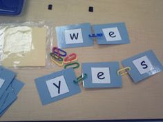 """Connecting Sounds Use paperclip links to """"clip"""" words together. Great hands-on activity idea to help kiddos build phonemic awareness."""