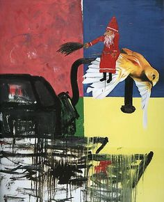 Martin Kippenberger, Untitled (Nr. 91/12) from the Krieg / Böse series, 1991  oil, acrylic, tempera, mixed media on canvas  94.49 x 78.74 inches (240 x 200 cm)