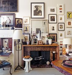 Thomas O'Brien's wall of portraits in his New York apartment