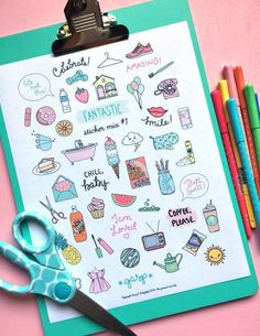 Best Step By Step Ocean Doodles For Bullet Journals – Crazy Laura Bullet Journal 2019, Bullet Journal Writing, Bullet Journal Ideas Pages, Bullet Journal Inspiration, Cute Sticker, Sticker Paper, Doodle Drawings, Easy Drawings, Free Printable Planner Stickers
