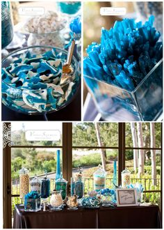 blue candy bar wedding #blue #candybar