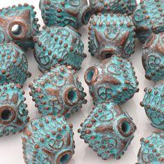 Casting Beads-14mm Ornamental Octahedron-Green Patina-Quantity 1