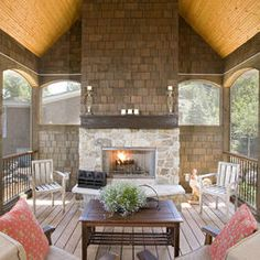 shakes! Porch Screened Porch With Fire Place