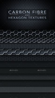 Metal Hexagon and Carbon Fibre Textures by Visual_A Main features: 10 hexagonal, metallic textures 11 carbon fibre textures Vignetted versions included separately (42 image in total)