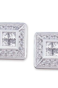 1/2 ct tw Invisible Set Diamond Earrings     Quality - 14K White    Size - 1/2 CT TW PAIR     Finish - Polished     Series Description - DIAMOND EARRINGS     Design features invisible set princess-cut diamonds surrounded by round diamonds.     Backs included.     Weight: 2.56 DWT ( 3.98 grams)     Comes Set With         Qty   Stone     8 - 0.048 Ct -- 2.00 MM, I1H-I color Princess Diamond     32 - 0.005 Ct -- 1.00 MM, I1H-I color Round Diamond       ST-61506    thesgdex.com