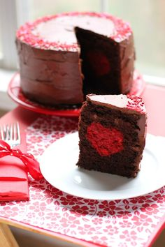 Thick Chocolate Cake with a Big Red (Velvet!) Heart