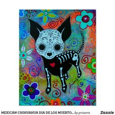 Mexican Dia de los Muertos Chihuahua Original Painting Dog Art Flowers PRISARTS Mexican Sun and Moon Folk art painting prisarts tree of life Evil eye hamsa hamesh bar bat mitzvah Artist Canvas, Canvas Art, Chihuahua Art, Day Of The Dead Art, Mexican Folk Art, Art Plastique, Skull Art, Dog Art, Pet Shop