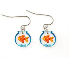 Goldfish Bowl Shrink Plastic Dangle Earrings by DOODLEWORM on Etsy