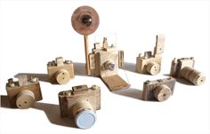 Recycled wood camera toys by Arcangelo Favata