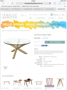 Temple and Webster Glass Coffee Table