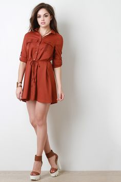 Shop this vintage inspired mini shirt dress features a classic collar neckline, button-up front, double flap breast pockets with pinched stitched details, long sleeves Girls Short Dresses, Sexy Dresses, Cute Dresses, Fashion Dresses, Cute Girl Outfits, Cool Outfits, Short Shirt Dress, How To Pose, Hot Dress
