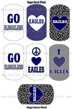 INSTANT DOWNLOAD Eagles School Mascot Blue  by sugarnspicebow, $1.50