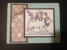 Stampin'Up! card idea | Christmas | Bearing Gifts stamp set | Trim the Tree DSP | Frosted Sequins | Pearl Basic Jewels | Decorative Dots Impressions Folder | Big Shot | Linen Thread | by Stampin'Up! Demonstrator Shirley McKay, The Daily Stamper