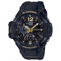 Casio Mens G-Shock Master of G Gravity Master Vintage Black & Gold Series Watch (Model No. Casio G-shock, Casio Watch, Cool Watches, Watches For Men, Wrist Watches, Men's Watches, Casio Protrek, Casio G Shock Watches, G Shock Black