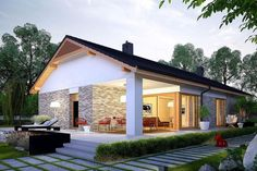 PL™ - Projekt domu AC Daniel CE - DOM - gotowy projekt domu You are in the right place about exterior classic Here we offer you the most beautiful pictures about the exterior lighting yo Small House Design, Modern House Design, Future House, My House, Single Storey House Plans, Modern Bungalow House, Weekend House, Prefabricated Houses, Simple House