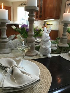 Cute Tablescape Design.  Spring, bunny, Easter, Brunch, valentines, decor, table runner, burlap, ribbon.  #aSmithDesign