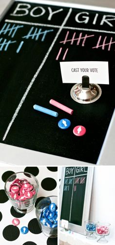 Get your gender reveal party started right by having guests vote boy or girl. They can then show off their vote, by wearing a pink or blue button.