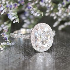 Halo Diamond Engagement Ring with 9x7mm Oval White by LaMoreDesign
