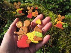2 Ich hab dich lieb Mäuse aus Holz handbemalt von Sonja Sonnenschein auf DaWanda.com