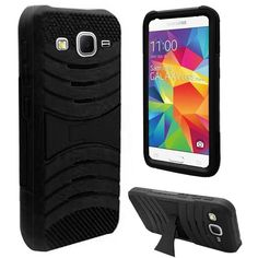 Insten Soft Silicone/ PC Dual Layer Hybrid Rubber Phone Case Cover with Stand For Samsung Galaxy Core Prime #2140997