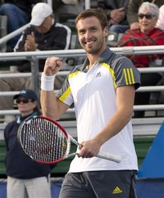 Ernests Gulbis, from Latvia, reacts after winning the Delray Beach, Fla., International Tennis Championship tournament, Sunday, March 3, 2013. Gulbis defeated Edouard Roger-Vasselin 7-6 (3), 6-3. (AP Photo/J Pat Carter)