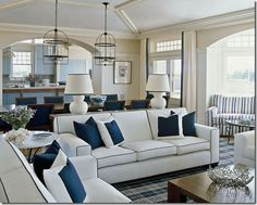 living room with navy accents - lots of light!