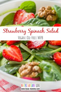A simple strawberry spinach salad with balsamic is so easy to make and great for parties or a crowd!  It's so beautiful and delicious.  It's perfect for clean eating lunches or dinners and is super healthy with the red onion and berries.  This recipe has no sugar and has a no oil vinaigrette and is gluten free. It can be made with almonds or walnuts I think the best ever! #summerrecipes #strawberryspinachsalad #healthyvegan #wfpb #eattolive #nutritarian #drfuhrman #forksoverknives…