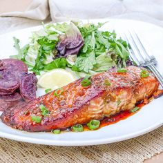 This soy and honey glazed salmon comes together so fast and easy, but tastes like a gourmet dish from a fancy seafood restaurant.