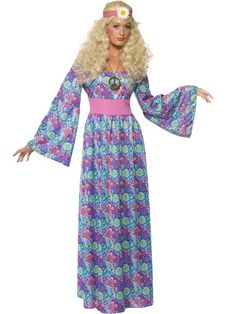 58185f71873c Adult 60s 70s Hippy Flower Power Child Ladies Maxi Fancy Dress Costume  Outfit