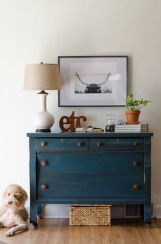 Empire dresser painted deep green/blue with wood knobs-Estuary Designs
