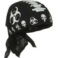 Red Black White Bonehead Skull Doo Rag Durag Headwrap Skull Cap Sweatband Biker