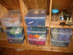 Attic eave storage - add shelves to create more space for organised boxes