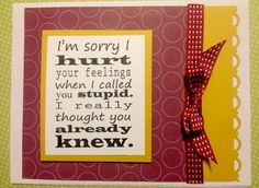 Stampin' Up Paper Funny Handmade Card I'M Sorry I Hurt Your Feelings Blue | eBay