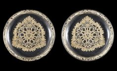 René Lalique 'Chasse, Chiens' a Pair of Plates, design 1914 frosted and polished glass, heightened with sepia staining 21cm diam, etched 'Lalique'