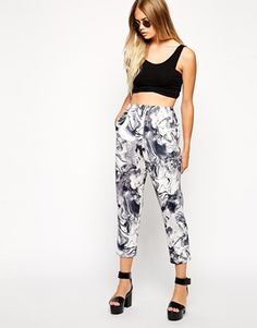 ASOS Peg Trousers in Printed Marble Scuba