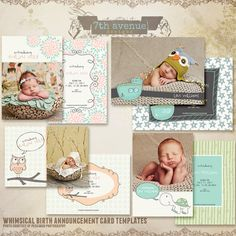 Whimsical Flat Birth Announcement CARD by 7thavenuedesigns on Etsy, $20.00