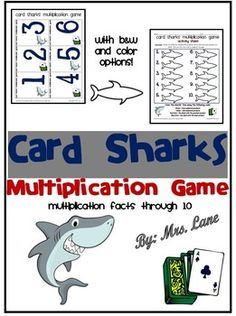 Do your elementary students need to practice basic multiplication facts through 10? They will absolutely love playing this fun game with a shark theme while practicing multiplication. It makes a great center, workstation, whole class, or one-on-one multiplication activity!   ================================================  *THIS PRODUCT INCLUDES:  Teacher Directions Student Directions Game Cards Activity Sheets  *Includes black and white AND color printing options!  *Your students will also…