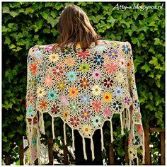 Pattern coming soon to this blog...............Atty's : Catona Crochet Flower Shawl